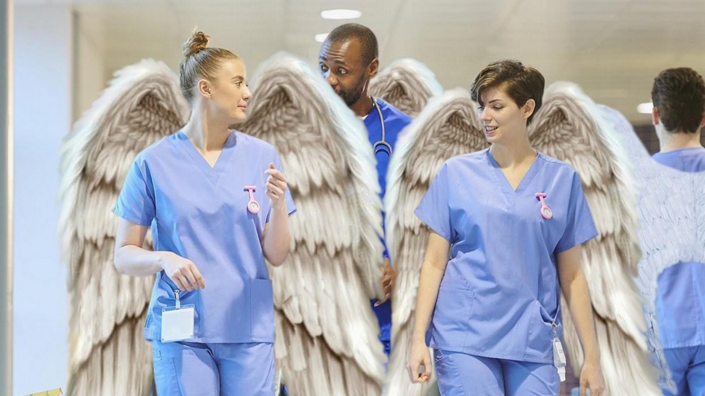 Nhs staff with wings